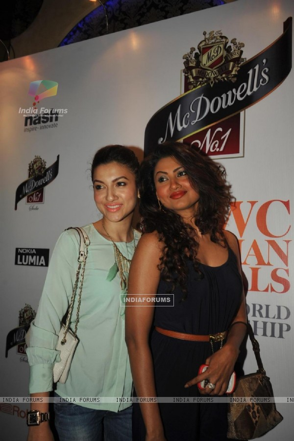 Bollywood actress Nigaar Z. Khan with sister Gauhar Khan at The Indian Grand Finale Of The McDowell's No.1 Karaoke World Championship at Phoenix Mills in Mumbai.