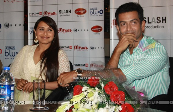 Bollywood actress Rani Mukherjee and Malayalam film actor Prithviraj at a press meet to promote their film ''Aiyyaa, in New Delhi. (Photo: IANS/Amlan)