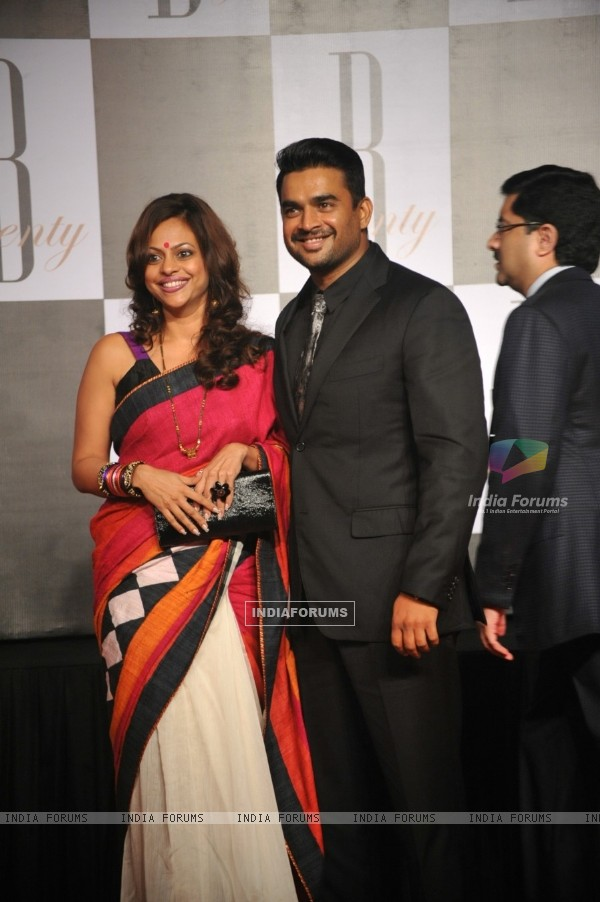 Madhavan with wife at Amitabh Bachchan's 70th Birthday Party at Reliance Media Works in Filmcity