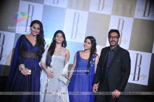 Sonakshi Sinha, Tanisha Mukherjee, Kajol and Ajay Devgan at Amitabh Bachchan's 70th Birthday Party