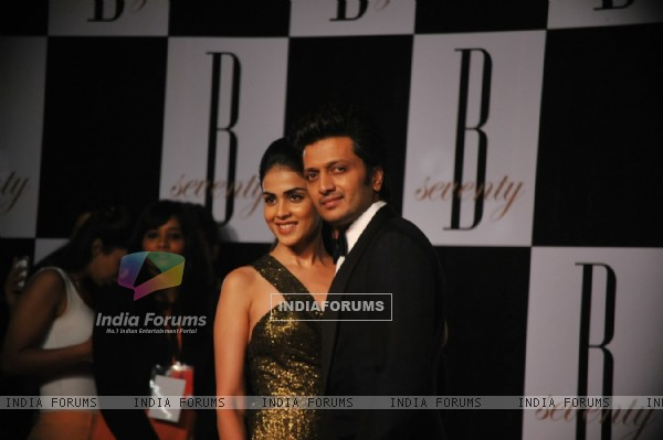 Ritesh Deshmukh with wife Genelia Dsouza at Amitabh Bachchan's 70th Birthday Party