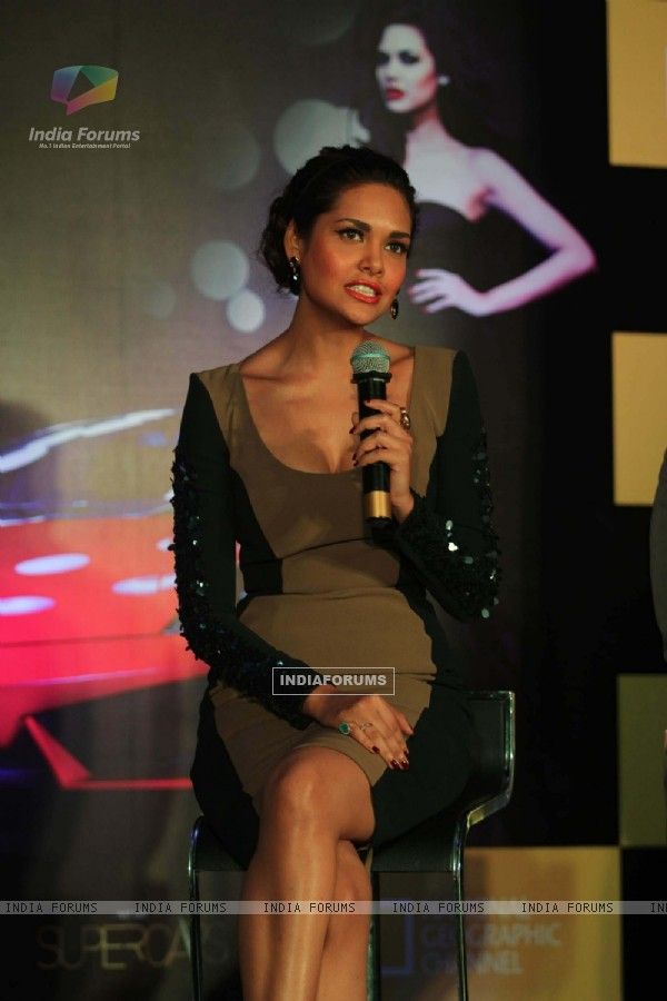 Bollywood actress Esha Gupta during a National Geographic Channel  Supercars launch at Blue Sea in Mumbai.