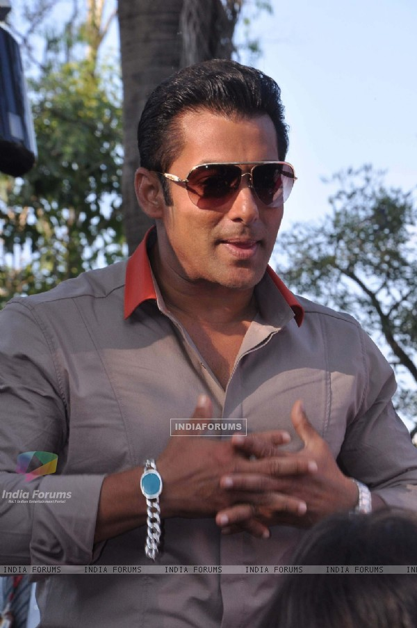 Bollywood actor Salman Khan takes media on the Big Boss tour ride at in Lonavala in Mumbai.