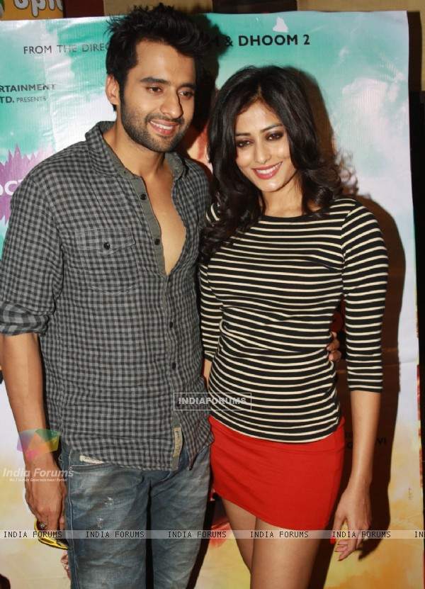 Jackky Bhagnani and Nidhi Subbaiah at the press conference for film ''Ajab Gazabb Love'',at Spice Mall,in Noida (Photo:IANS/Amlan)