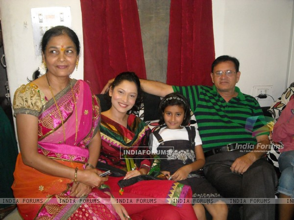 Ankita Lokhande with her Mom and Dad