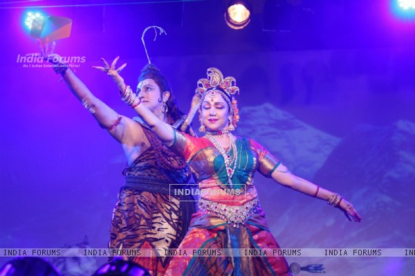 Hema Malini performs dance at North Bombay Sarbojanin Durga Puja Pandal at Hotel Tulip Star in Mumbai