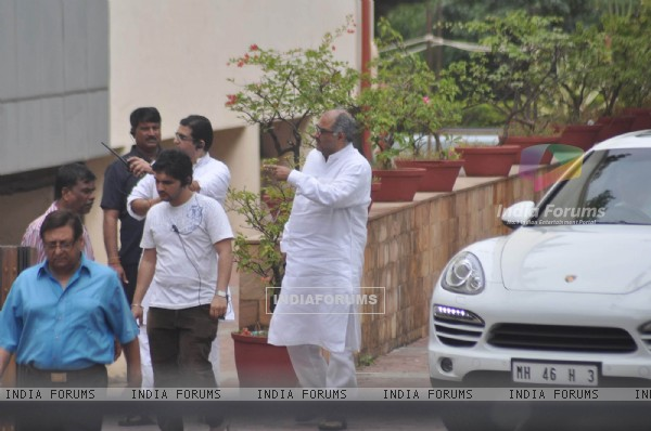 Boney Kapoor attend pays last respect during the funeral of legendary filmmaker Yash Chopra