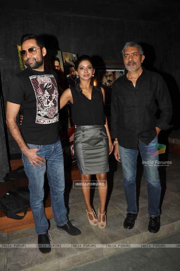 Abhay Deol, Anjali Patil and Prakash Jha  during the promotions of film Chakravyuh