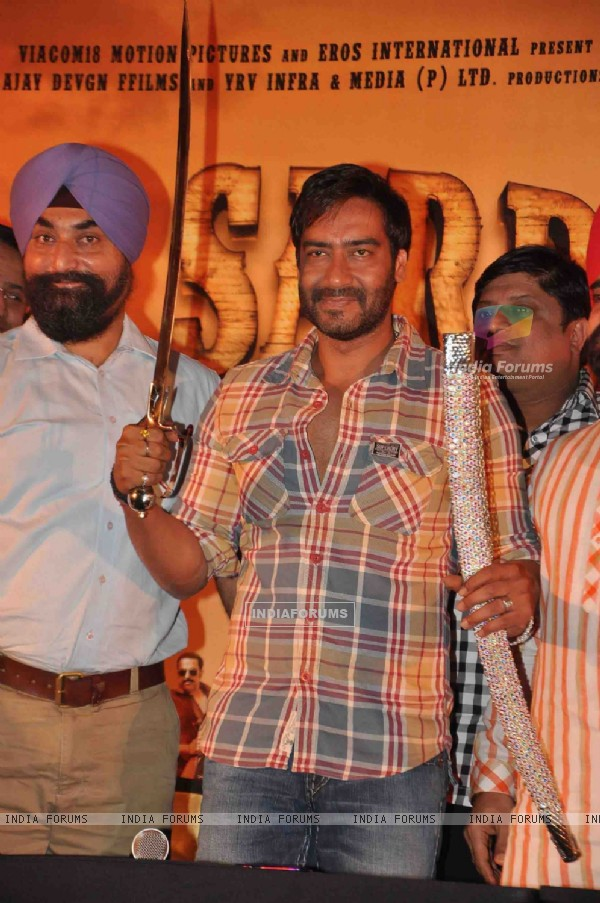 Bollywood actor Ajay Devgn during of his upcoming film Son of Sardar press meet in Mumbai.