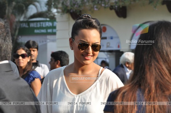 Bollywood actor Sonakshi Sinha during the Metro Motors Auto Hangar H M Mehta Trophy at Mahalaxmi Race Course in Mumbai