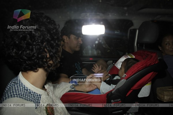 Aamir Khan and Kiran Rao at his son Azad Rao Khan's first birthday party in Mumbai