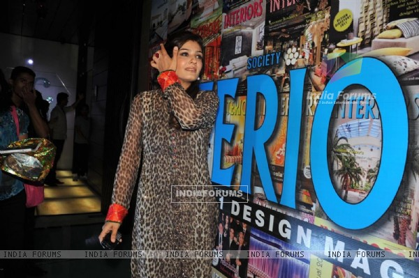 Raveena Tandon unveiling the special anniversary issue of Society Interiors