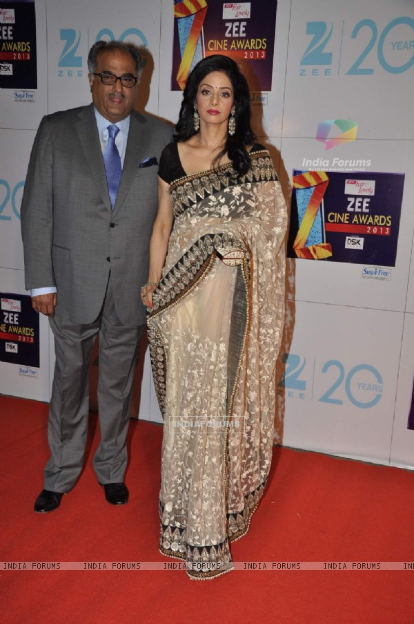 Sridevi with husband Boney Kapoor at Zee Cine Awards 2013 at YRF Studios in Andheri, Mumbai.