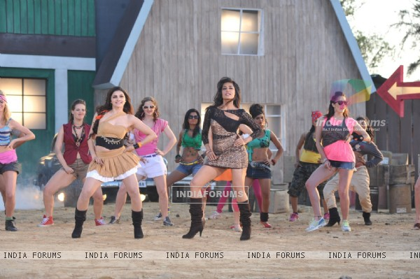 Prachi Desai and Chitrangada Singh shooting for film ''I Me Aur Main'' song at Kamalistan Studios