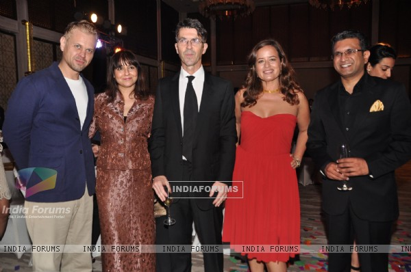 (L to R) Adrian Filly, Smira Bakshi, Jade Jagger, Pierre Vyes, Arzel Aseem Kaushik at the Jade Jagger's latest collaboration with Kerastase to design the bottle for Kerastase's Elixir Ultime a unique luxury brand in Mumbai on Wednesday, January ...