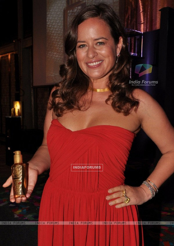 Beauty Expert JadeJagger with kerastase elixir ultime bottle at the Jade Jagger's latest collaboration with Kerastase to design the bottle for Kerastase's Elixir Ultime a unique luxury brand in Mumbai on Wednesday, January 30th, evening.