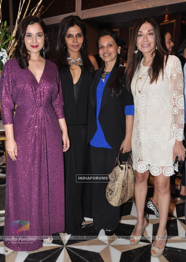 (L to R) Simone Singh, Nisha Jamvwal, Poonam Soni, Kadambari Lakhani at the Jade Jagger's latest collaboration with Kerastase to design the bottle for Kerastase's Elixir Ultime a unique luxury brand in Mumbai on Wednesday, January 30th, evening.