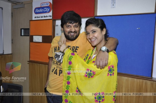 Music director Wajid Ali with RJ Archana at a musical festival 'Musical-E-Azam' season 5 by Radio City 91.1FM in Bandra, Mumbai on Wednesday, January 30th, evening.