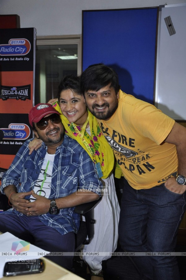 Music director duo Sajid-Wajid Ali with RJ Archana at a musical festival 'Musical-E-Azam' season 5 by Radio City 91.1FM in Bandra, Mumbai on Wednesday, January 30th, evening.
