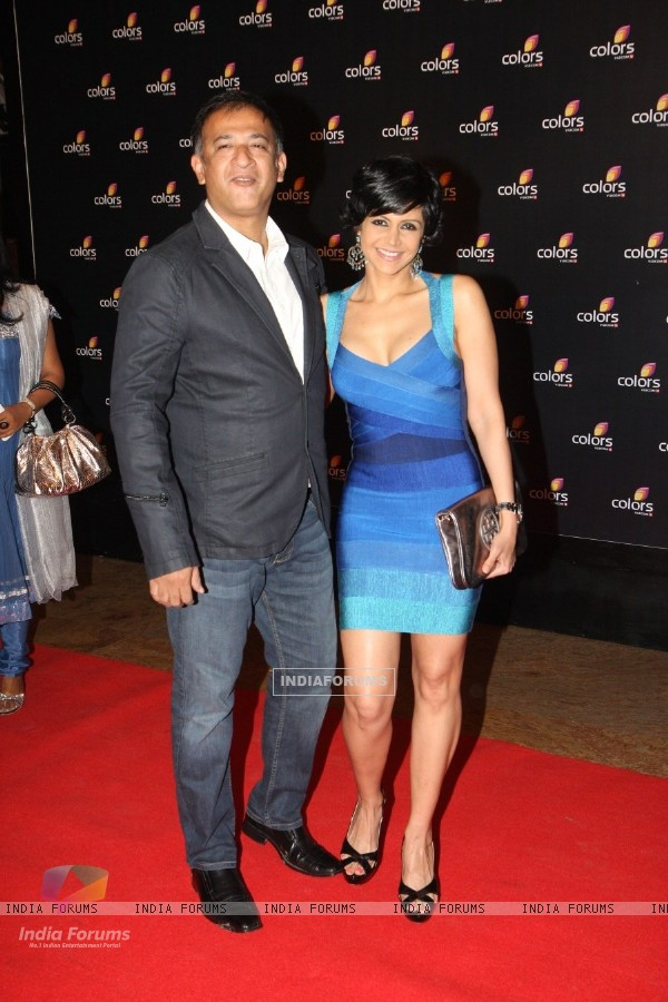 Mandira Bedi with husband Raj Kaushal at the 4th anniversary party of COLORS Channel