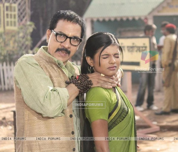 Mitali Nag with a cast member of Afsar Bitiya