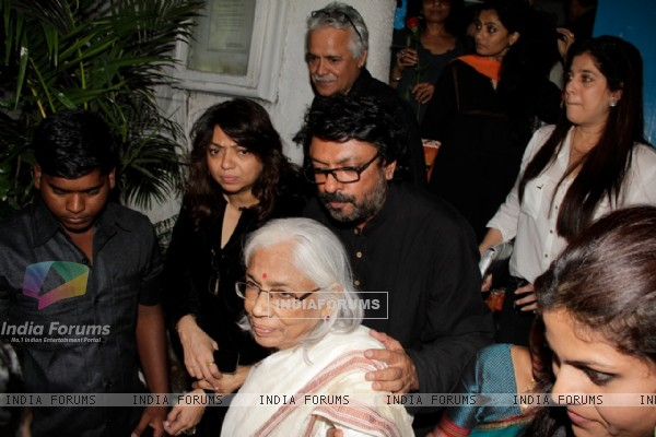 Sanjay Leela Bhansali with sister Bela Sehgal and mother Leela Bhansali at his Birthday party