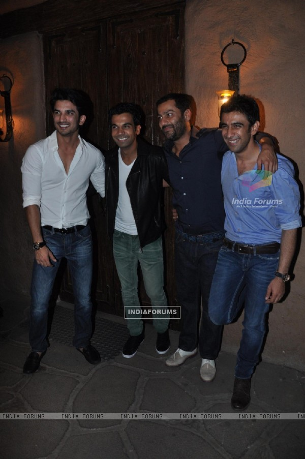 Sushant Singh Rajput, Raj Kumar Yadav, Abhishek Kapoor and Amit Sadh at Success bash of Kai Po Che!