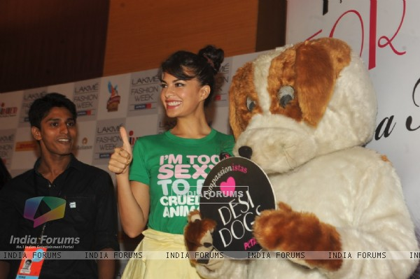 Jacqueline Fernandez unveils new PETA campaign at Lakme Fashion Week Summer 2013