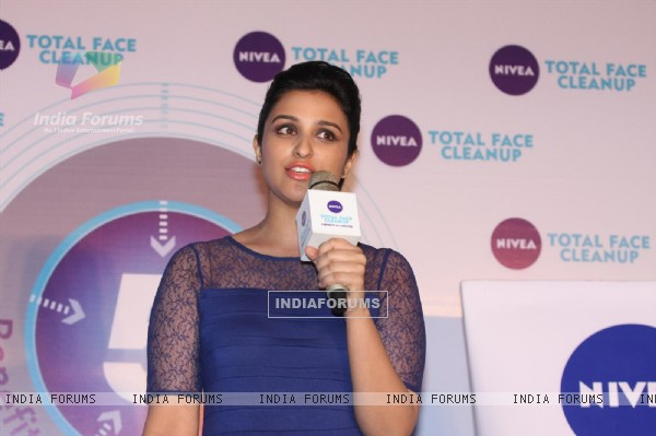 Parineeti Chopra poses during the launch of Nivea's Total Face Cleanup