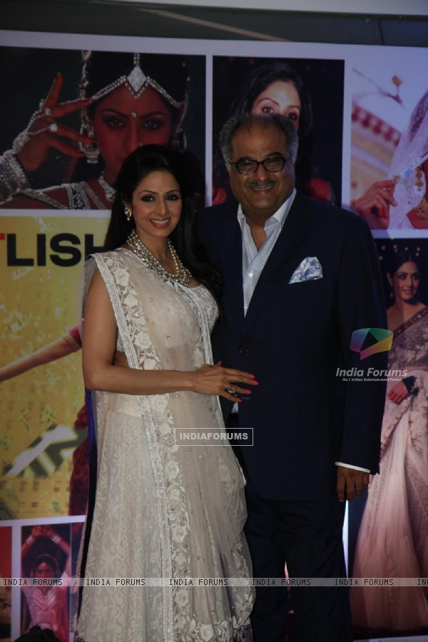 Sridevi with husband Boney Kapoor at Sahara Pariwar Bash For Padma Shri Sridevi