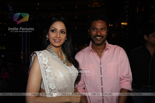 Sridevi with Prabhu Deva at Sahara Pariwar Bash For Padma Shri Sridevi