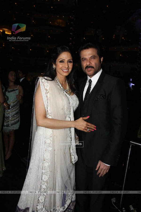 Sridevi with Anil Kapoor at Sahara Pariwar Bash For Padma Shri Sridevi