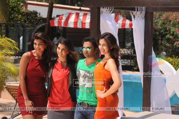 Archana Vijaya, Sunny Leone, Sachiin Joshi and Sonali Sehgal at Special shoot for XXX Energy Drink