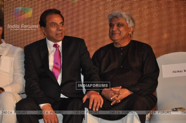 Dharmendra and Javed Akhtar at New News Channel Launch Marathi Jai Maharashtra