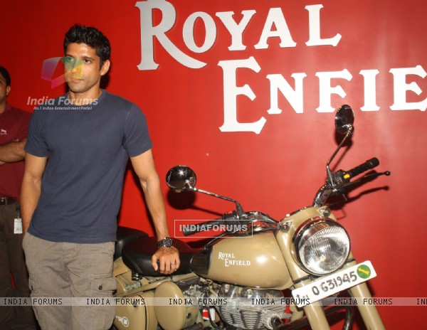 Farhan Akhtar during a contest that was held by Royal Enfield at Gurgaon