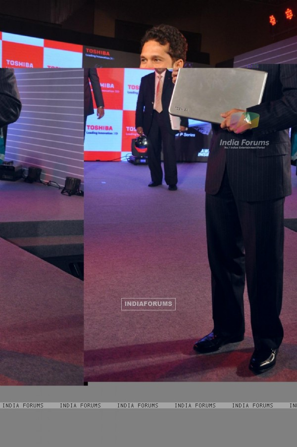 Sachin Tendulkar during the launch of Toshiba 2013