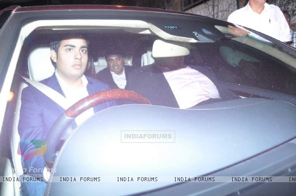 Akash Ambani, Mukesh Ambani and Anant Ambani arrives at Shahrukh Khan's Grand Eid Party at Mannat