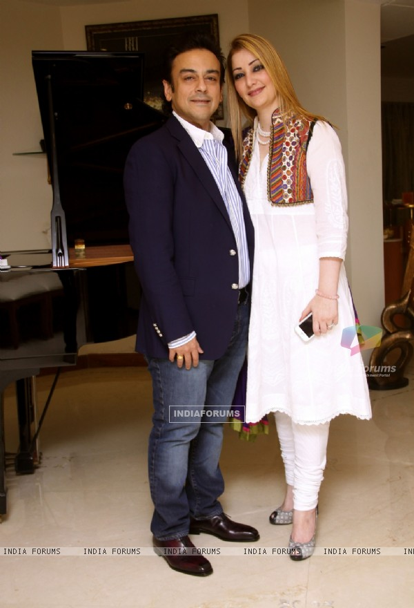 Adnan Sami &  Roya Faryabi at a party hosted by Adnan at his house