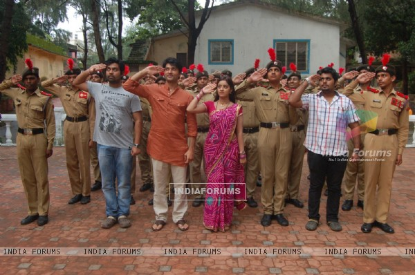 Anas Rashid, Deepika Singh and Rohit Raj Goyal with the NCC Cadets