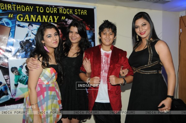 Gurpreet Kaur Chadha  her children Gananya and Ananya and Annie Gill at the birthday party