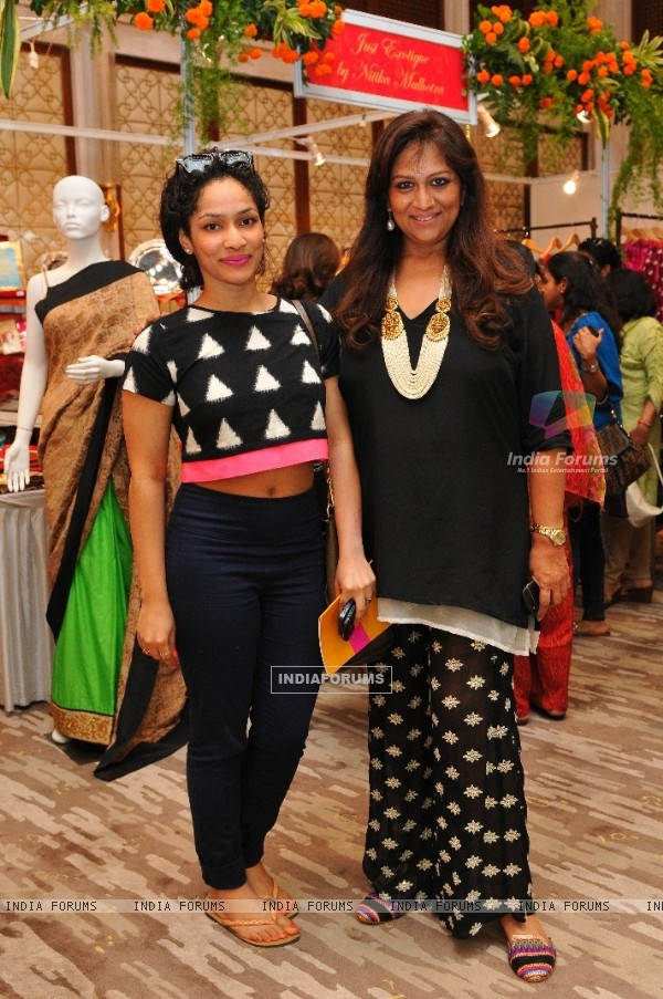 Masaba Gupta with Sharmilla Khanna at Araaish Trousseau - a fund raising exhibition