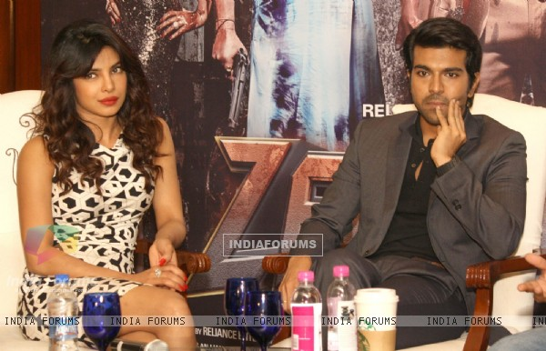 Priyanka Chopra and Ram Charan were seen at the Zanjeer - Press Meet in New Delhi