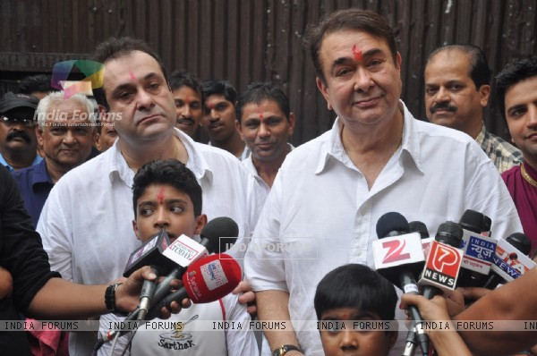 Randhir Kapoor and Rajiv Kapoor speak to the Press on occasion of Ganesh Chaturti