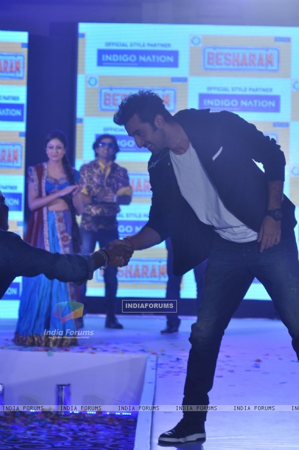 Ranbir Kapoor greets a fan at the event