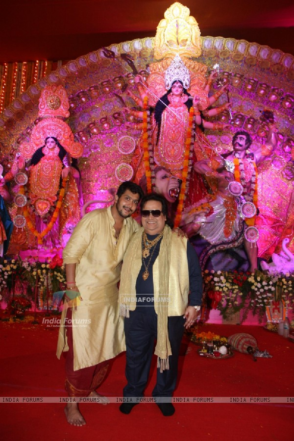 Bappi and Bappa Lahiri at the Durga Pooja celebrations