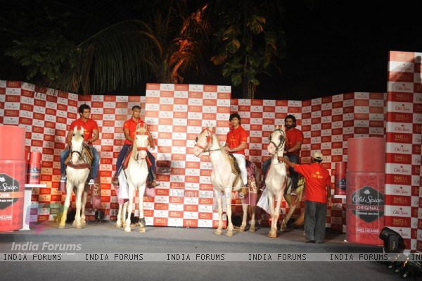 "The ""Mantastic"" men arrive on horses at the Launch of the Old Spice deodorant"