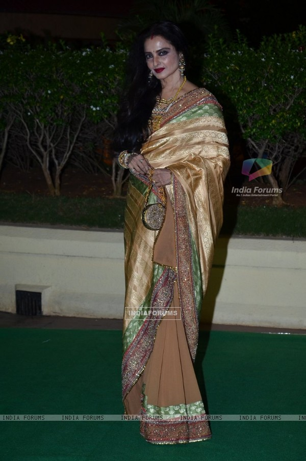 Rekha was seen at Vishesh Bhatt's Wedding Reception