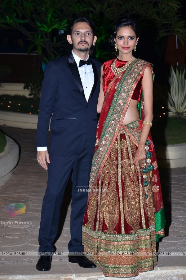Vishesh Bhatt and his wife at their Wedding Reception