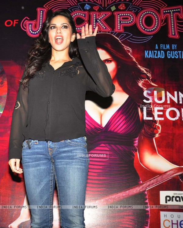 Sunny Leone during a promotional event of their film 'Jackpot'