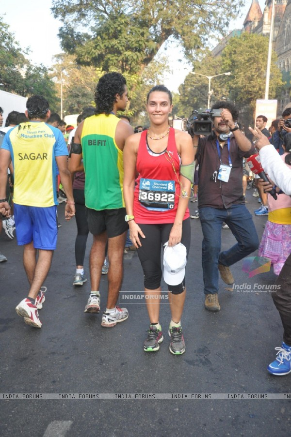 Neha Dhupia at the Mumbai Marathon 2014